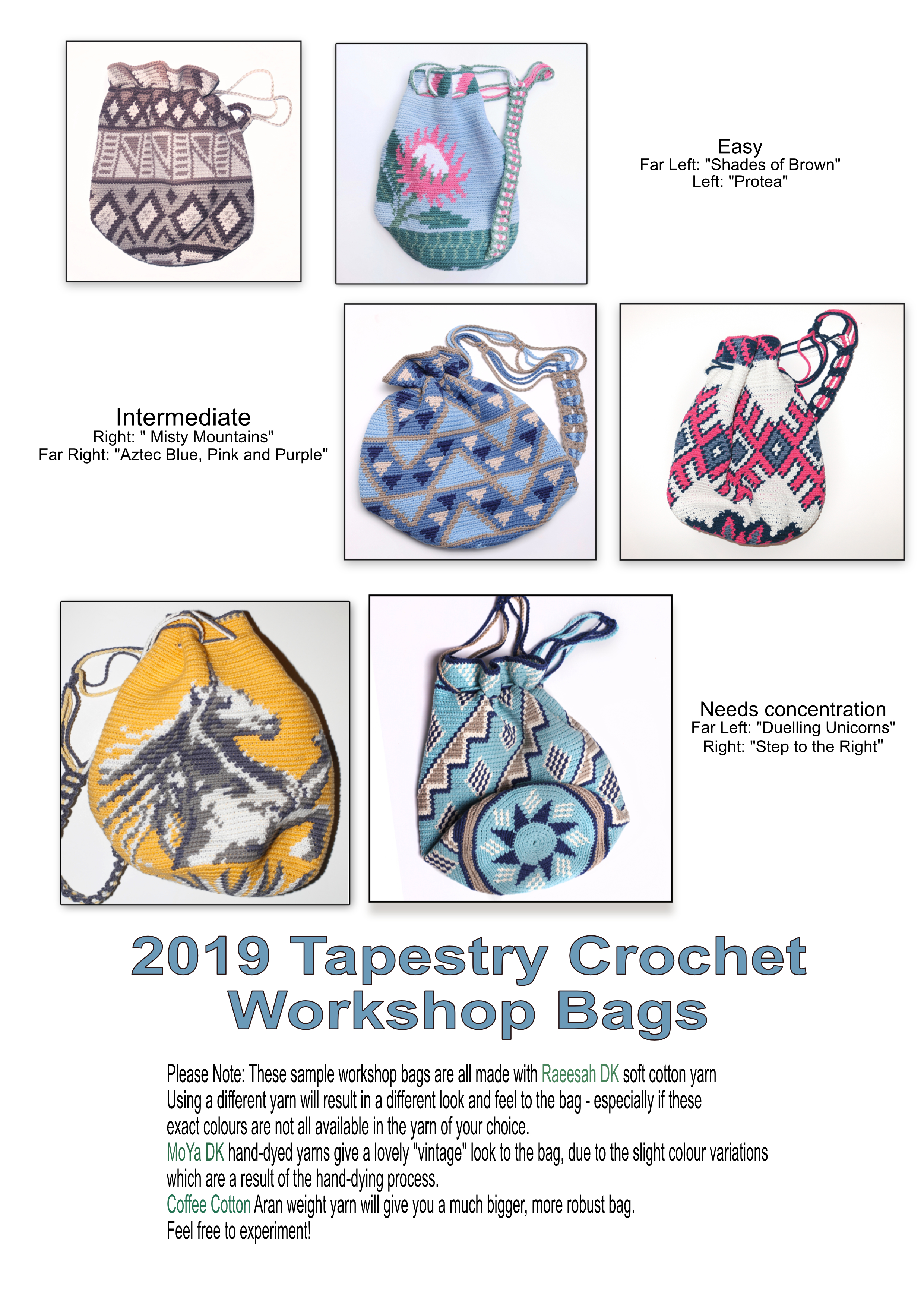 2019 Tapestry Crochet Workshop bags portrait
